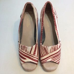 TOMS Red and White Stripes Wedges